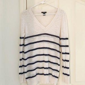 H&M Cream & Navy Striped Lightweight Sweater